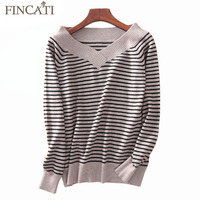 Sweater Women 2017 Autumn Winter High Quality 100 Pure Cashmere Deep V Neck Striped Knitting Fashion