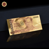 Color Normal Gold Plated Banknote Thailand 1000 Baht Paper Money Antique Metal Crafts