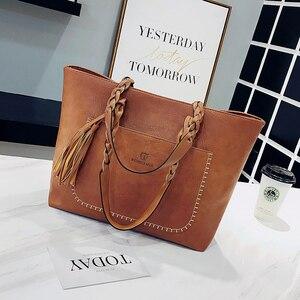 Image 3 - Moda kobiety PU skórzana torba torebki z frędzlami kobiety duża torba na ramię torby luksusowy projektant wysokiej jakości sac główna torebka Vintage na ramię