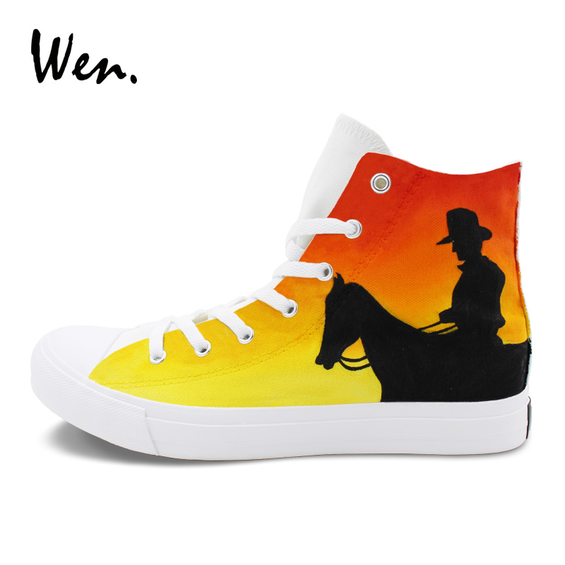 Wen Men Women Sneakers Hand Painted Canvas Shoes Original Design West Cowboy Sketch Graffiti Painting Skateboarding Shoe e lov hand painted casual canvas shoes diy custom graffiti animals flat shoe women oxford shoes sapatos feminino