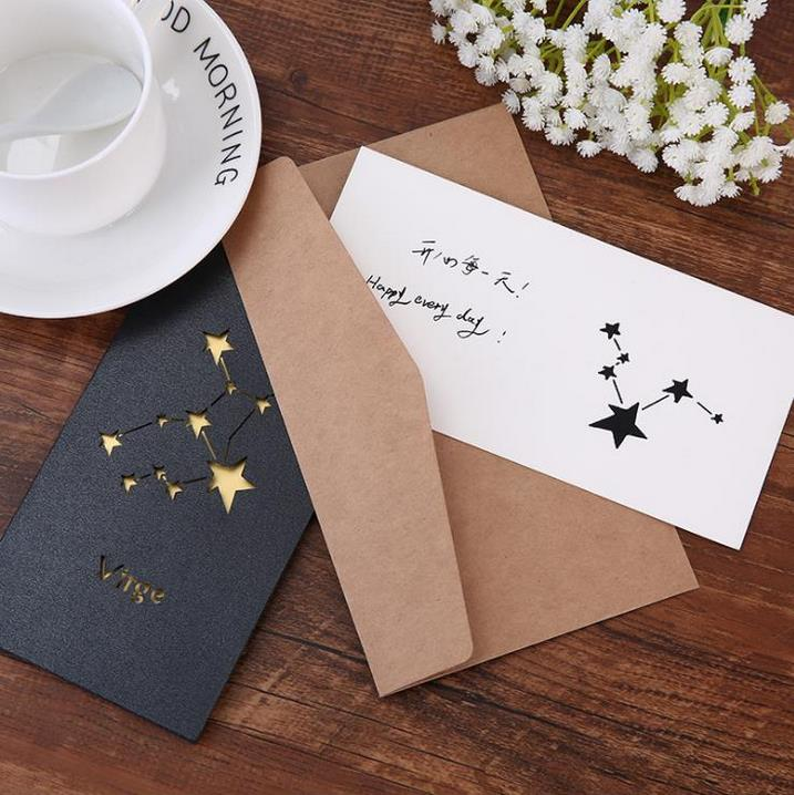 12 Constellation Greeting Cards Hollowed Star Birthday Card New Year Vinage Business Invitation With Envelope Welcome Custom