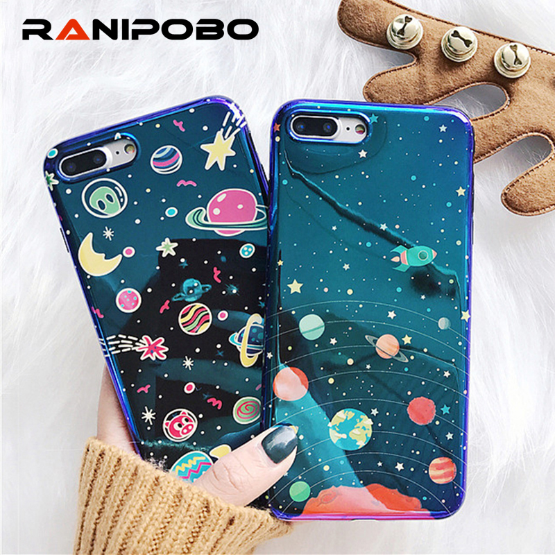 Galleria fotografica Blu-Ray Cute Planet Moon Star Phone Case For iPhone 6 6S 7 8 Plus Fashion Universe Series Cover Cases For iphone X Case