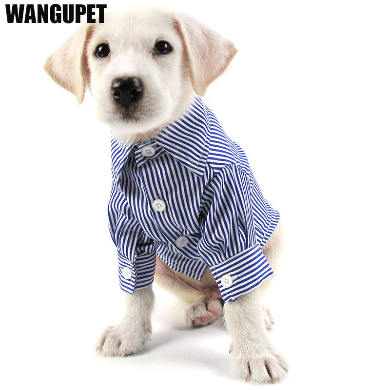 WANGUPET 2017 New Stripe Dog Shirt Brand Leisure Clothing Fashion Social Casual Pet Shirt Slim Fit Long-Sleeve Dog Shirts