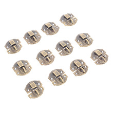 12Pcs 27x29mm Antique Bronze Iron Latch Hasp Lock Decorative Jewelry Wine Wooden Box Home Furniture Buckle Clasp With Screw