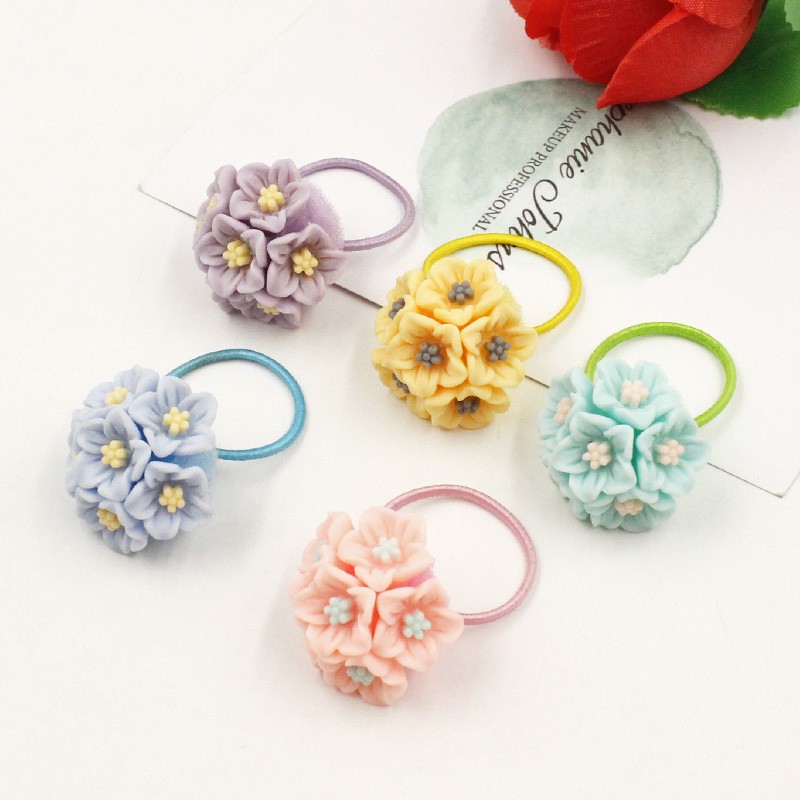 1PCS Fashion Acrylic Flowers Children Hair Ropes Elastic Hair Bands Girls Rubber  Hair Accessories Baby Kids Headwear Hot sale