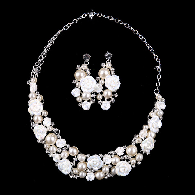 White Ceramic Flower Necklace Earrings Pearls Rhinestone Bridal