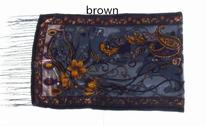 Новые горячие Испания кешью цветы шарфы для женщин выгорания бархат шаль женский весна зима подарок мама, жена - Цвет: brown