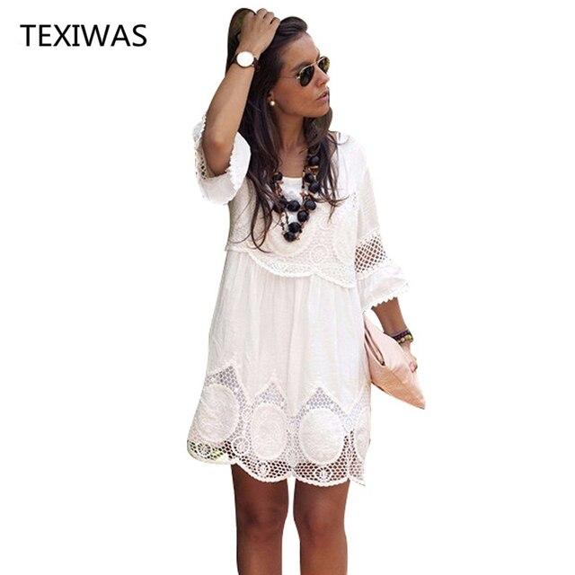 Texiwas плюс Размеры S-6XL Для женщин летнее платье Мода Половина рукава свободные Кружево платье 2018 белый o-образным вырезом женское платье
