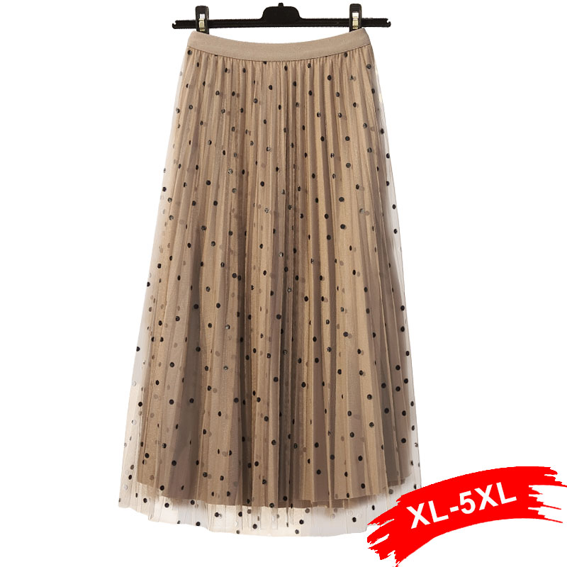 Plus Size Two Sides Can Wear Polka Dotted Lace Patchwork Velvet Midi Pleated Skirt 4Xl Women Elastic Waist Mid Calf Tulle Skirt