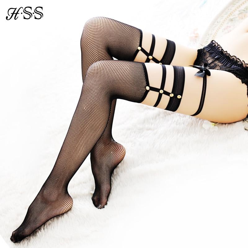 HSS 2020 Hot Sell + Sexy Rivet Nachtclubs Netzstrümpfe Pierced Sexy Mesh Damenstrümpfe Oberschenkelstrumpfhose (Nein mit Schleifenknoten)