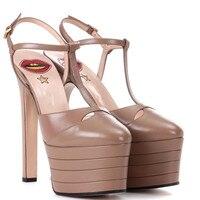 2018 популярные женские босоножки свадебные вечерние босоножки на высоком каблуке и платформе 15 см туфли со стальными трубками для девочек л