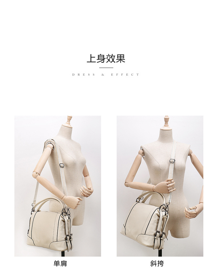 Cow Genuine Leather Womens Handbags Tote First Layer for Female Double Handle Messenger Bags Bowling Shoulder Bags