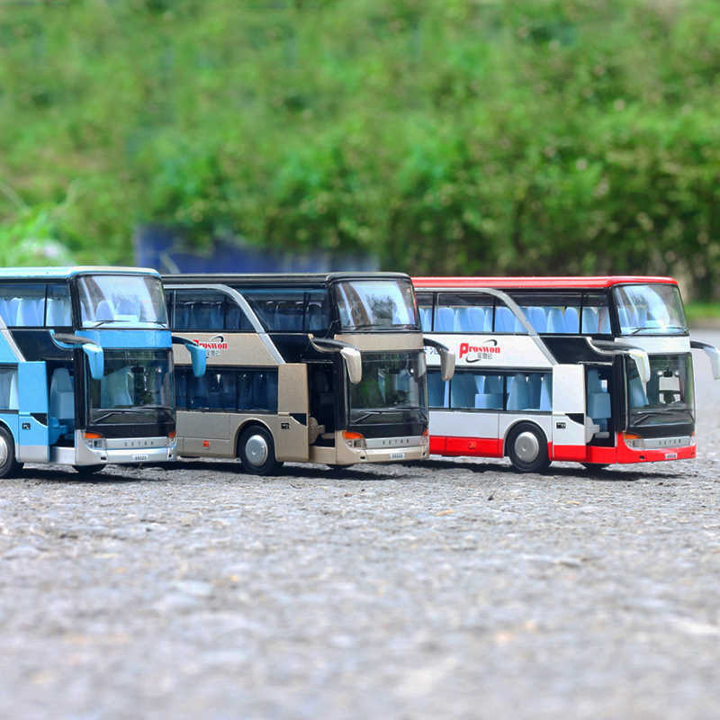 Electronic Alloy Scale Car Models Die-cast Touring Car Toys for Children  mkd3 auto Vehicle Double Decker Business Travel Bus