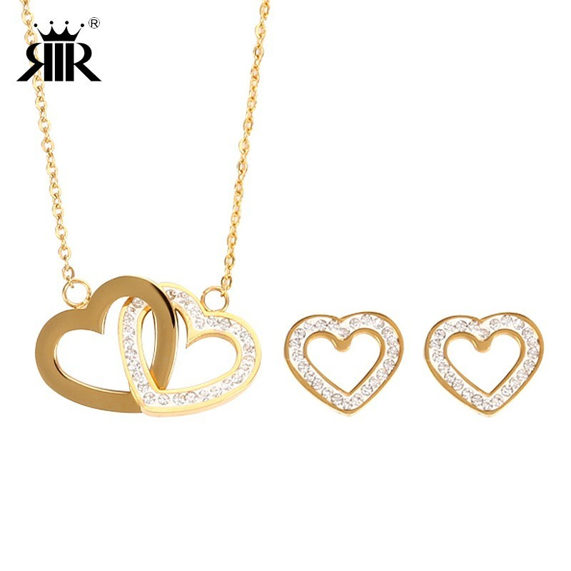 RIR Linked Double Heart Necklace Stainless Steel Filled Chain Two Double Entwined Twins Hearts Jewelry Set Gift For Girlfriend