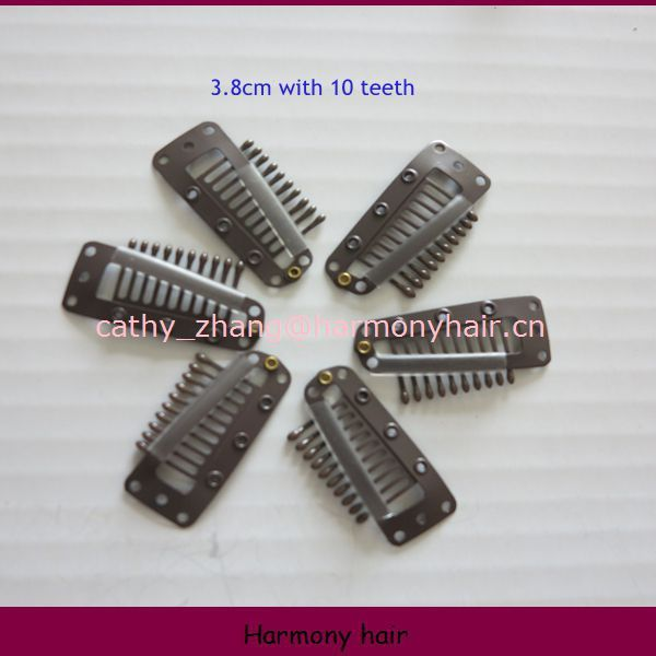 Harmony Stock hair extension snap clips/  3.8cm with 10 teeth 100pcs per pack   5 packs/lot