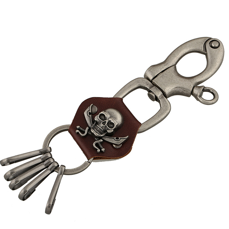 High Quality Skull Stainless Steel Luxury Leather Keychain For Man Women Car Key Chain Key Ring