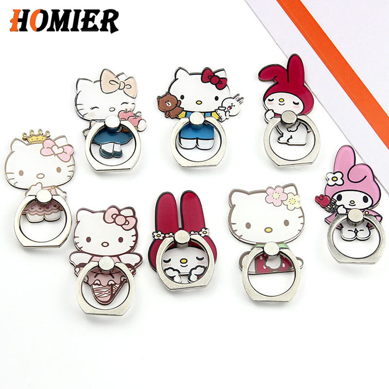 Universal Hello Kitty Soporte Movil Phone Stand Bracket Stand Phone Holder Finger Cute Cartoon Stand For Iphone 6 7 8 Plus X