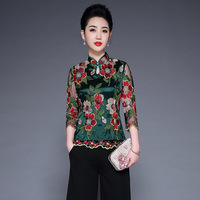 Plus Size Women Tops L 4XL 2019 Spring New Mesh Embroidered Flowers Vintage Emproved Cheongsam Tang Suit Stand Collar Blouse