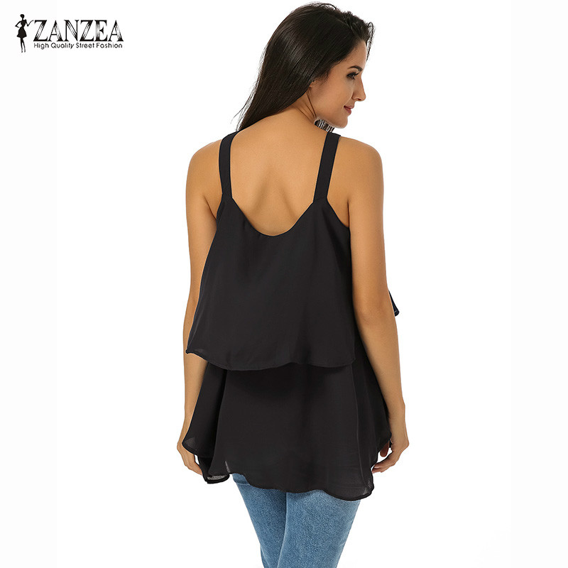 79e3524ab3b ZANZEA Spring Summer Women Lace Up Layered Sleeveless Flowy Tops Female  Loose Flounce Tiered Spaghetti Strap Tiered Blouse Shirt-in Blouses   Shirts  from ...