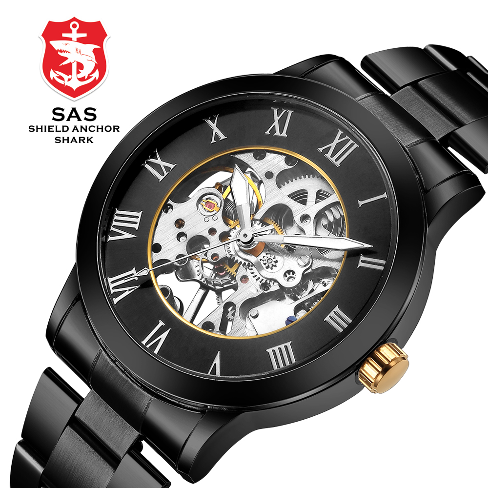 SAS Shield Anchor Shark Automatic Clockwork Watch Men Clock Mechanical Skeleton Watches Wristwatch relogio automatico masculino ik coloring bridge analog display mechanical male clock automatic wristwatch golden bezel skeleton watches relogio masculino