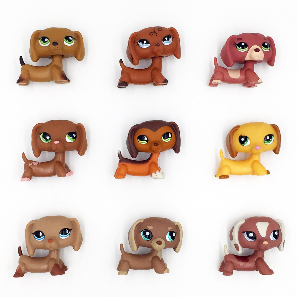 Rare pet shop toys dog collection figure old original DACHSHUND cute sausage kids Christmas present pet shop lps toys dachshund 556 light brown sausage dog pink heart green eyes