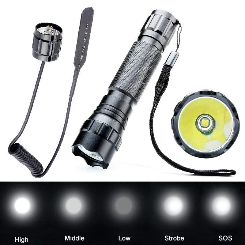 Best Quality WF-501B 3000 Lumens CREE XM-L T6 LED Flashlight Torch Light Lantern Hunting + Remote Pressure Switch 3800 lumens cree xm l t6 5 modes led tactical flashlight torch waterproof lamp torch hunting flash light lantern for camping z93
