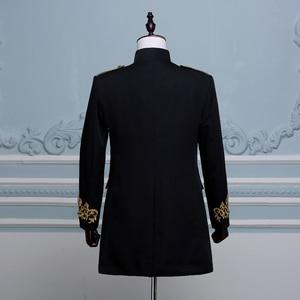 Image 4 - PYJTRL Men Double breasted England Style Long Slim Fit Blazer Design Wedding Groom Suit Jacket Mens Stage Wear Singer Costume