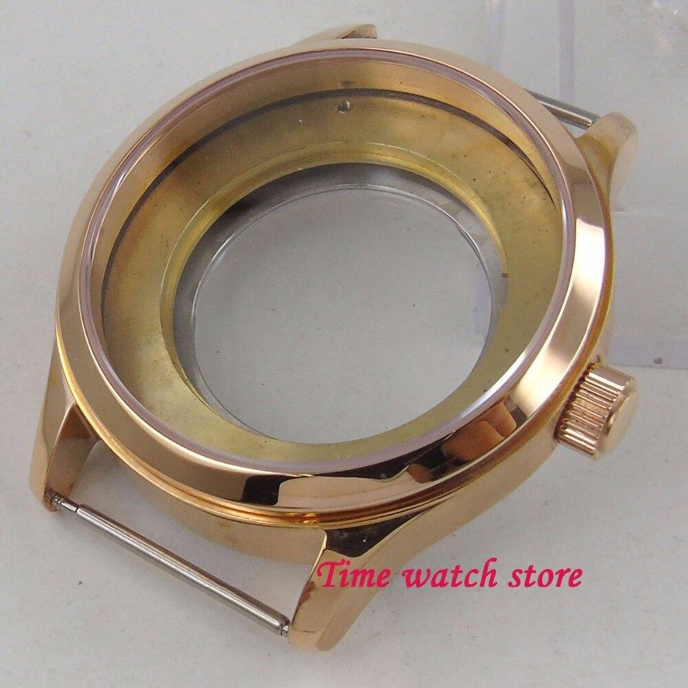 все цены на PARNIS 42mm rose golden plated 316L Stainless Steel watch case sapphire glass fit ETA 2836 2824 movement C104 онлайн