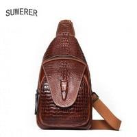 SUWERER new Genuine Leather backpack women luxury backpack women bags designer women backpack Crocodile pattern embossed bag