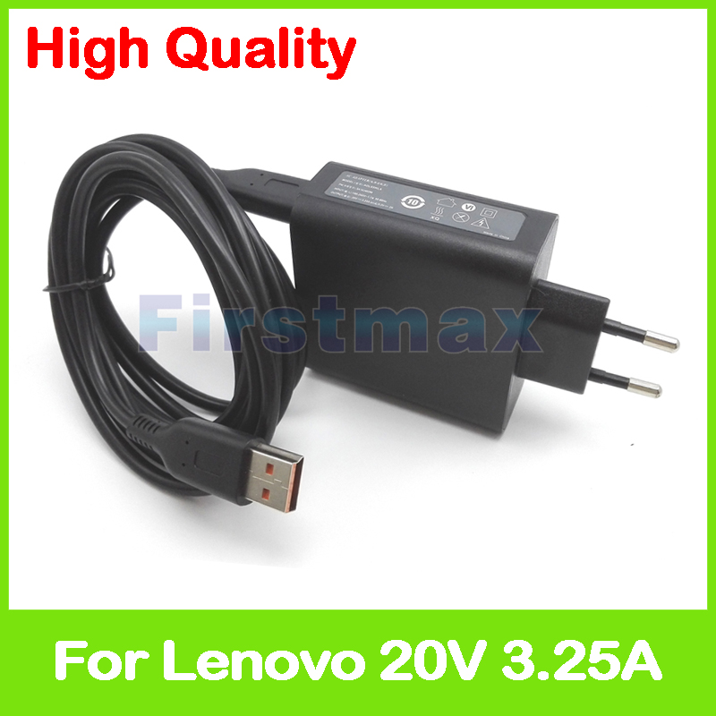20V 3.25A 5.2V 2A USB AC Power Adapter for Lenovo Yoga 900-13ISK 900S-12ISK tablet pc charger 5A10G68679 ADL65WLG EU Plug eu plug 20v 3 25a 65w portable laptop charger for lenovo yoga 4 yoga700 900 900 ise 900 ifi 4gb 8gb ac power adapter