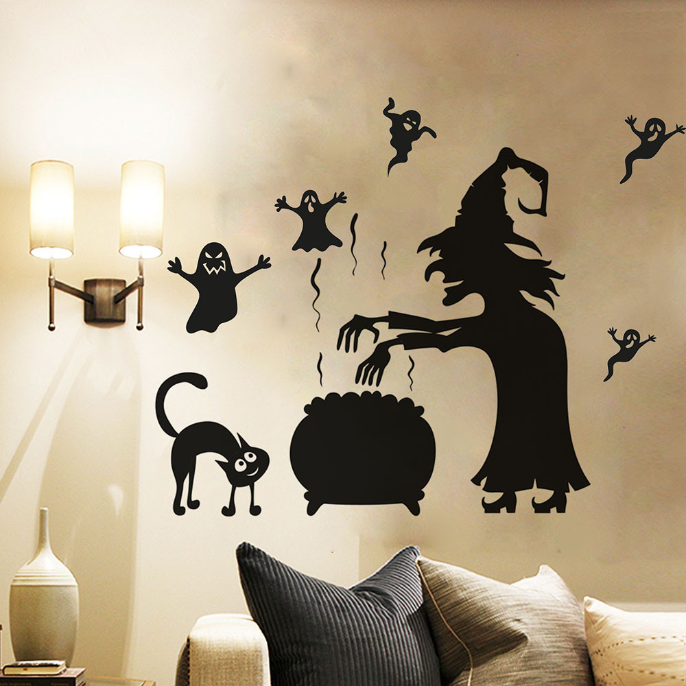 Happy Halloween Decoration Wall Stickers Witch Ghost Home