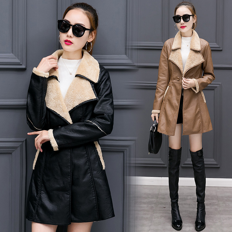Autumn Winter Woman Thicken Black Mid-Long Fleece PU   Leather   Jacket and Coats Casaco Feminino Overcoat Casual Long Sleeve