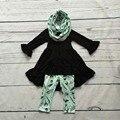 Детские зимние НАРЯДЫ для девочек 3 шт. наборы с шарфом детские девушки черный топ с перо брюки устанавливает девушки бутик одежды