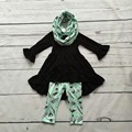 baby winter OUTFITS girls 3 pieces sets with scarf baby girls black top with  feather pant sets girls boutique clothes