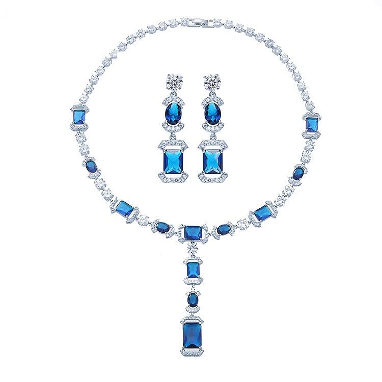 Collier et boucle d'oreille de mariage en pierre zircon cubique AAA de luxe élégant collier et boucle d'oreille ensemble de bijoux de mariée pour femmes fille