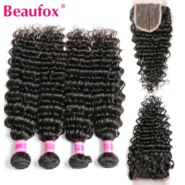 Beaufox Brazilian Deep Wave Bundles With Closure Human Hair Bundles With Closure Remy Brazilian Hair Weave Bundles With Closure 1