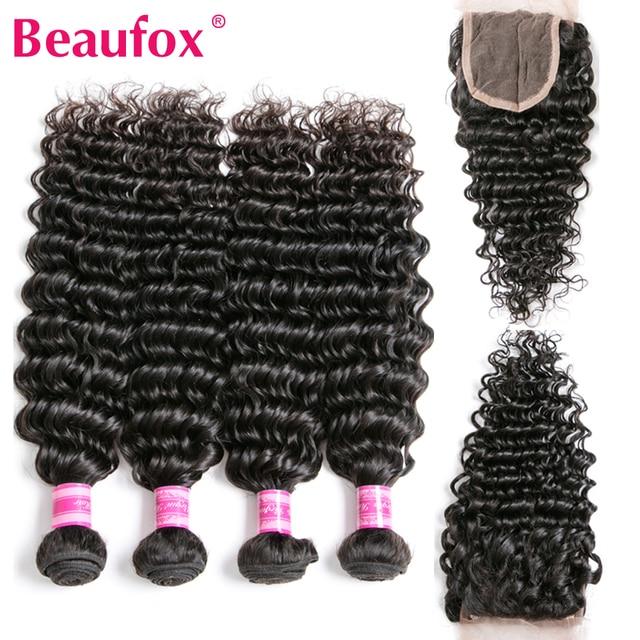 Beaufox Brazilian Deep Wave Bundles With Closure Human Hair Bundles With Closure Remy Brazilian Hair Weave Bundles With Closure 1