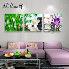 FULLCANG triptych 5d mosaic embroidery orchid & bamboo stone diy 3pcs diamond painting cross stitch kit full drill G1237