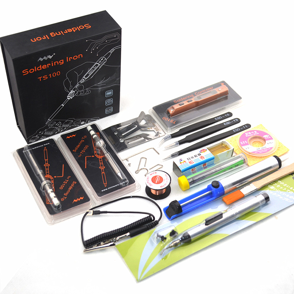 Full Set Intelligent Programmable Electric Soldering Iron Digital LCD TS100 Mini Soldering Iron Control Terminal BC2+I/K+I/D24+I