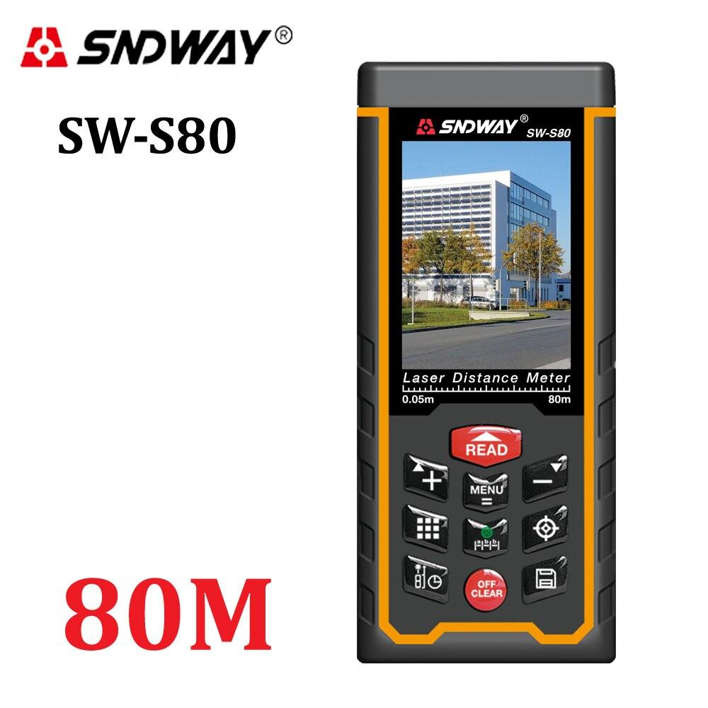 Laser distance meter Plage finder extérieure 80 m W-caméra rechargeable batterie Couleur LCD laser ruban à mesurer Area/ volume/angle Outils
