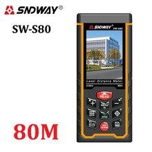 Medidor de distancia láser telémetro al aire libre 80 m W-cámara batería recargable LCD a Color láser cinta métrica Area/volumen/ángulo de Herramientas