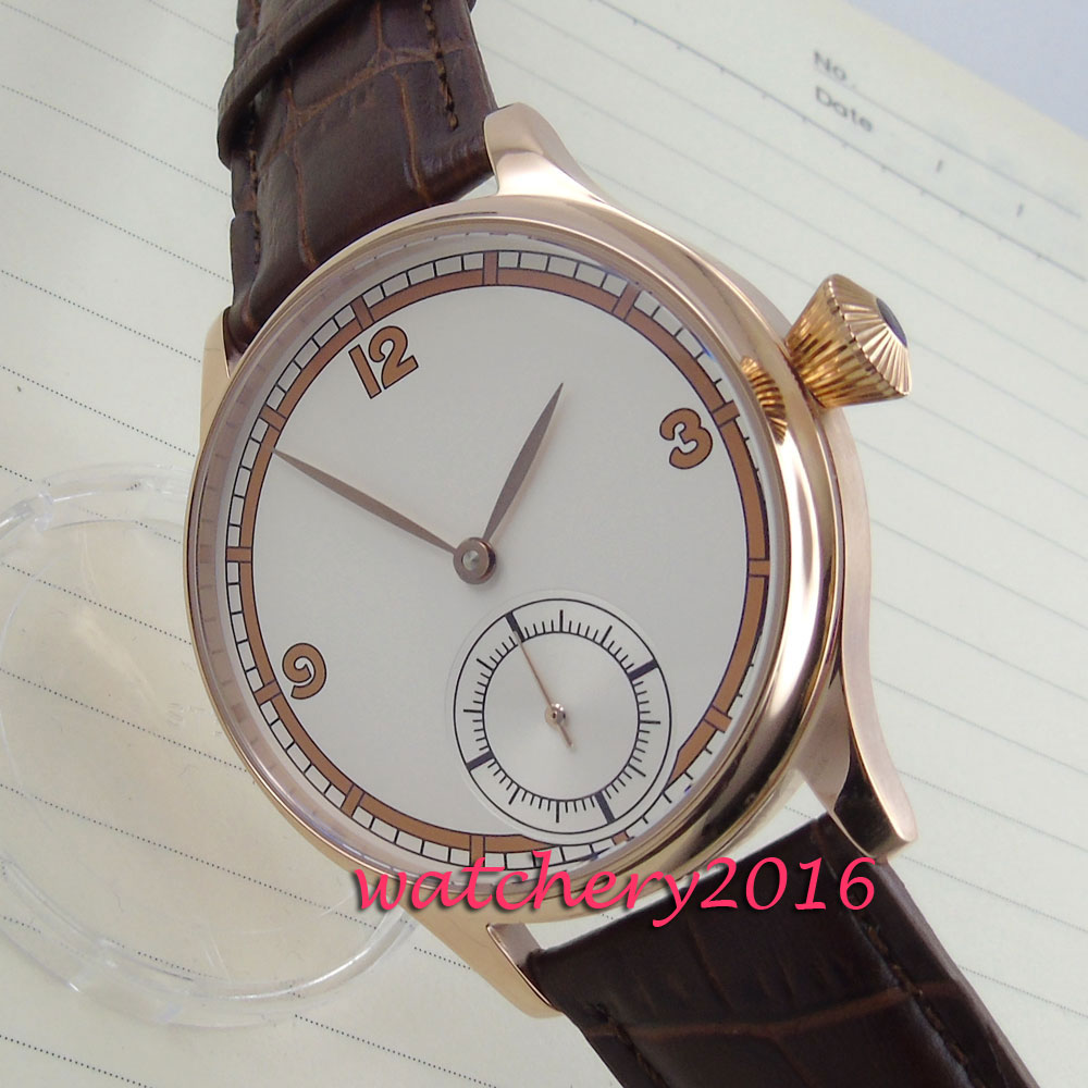 Luxury Brand 44mm Luxury Brushed Stainless Steel Case White Dial Leather Strap 6498 Hand-wound Mechanical Men Watch CoorgeutLuxury Brand 44mm Luxury Brushed Stainless Steel Case White Dial Leather Strap 6498 Hand-wound Mechanical Men Watch Coorgeut