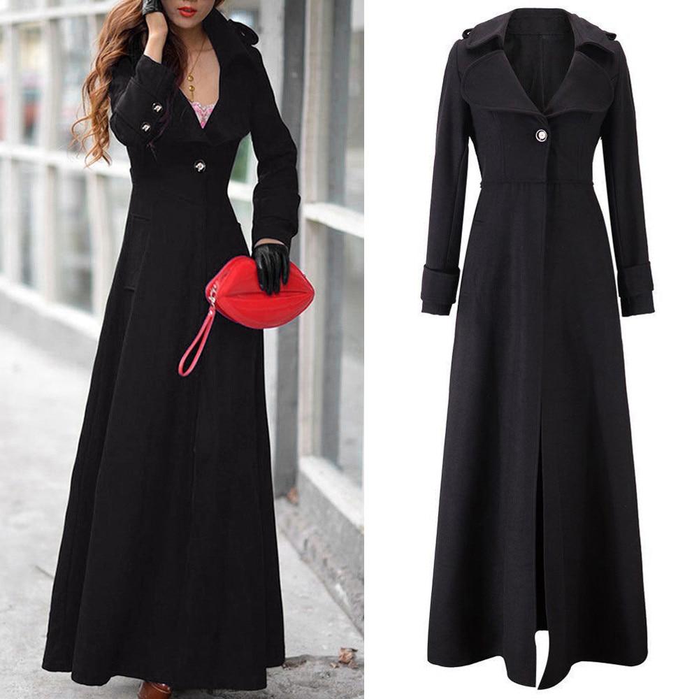 coats women fashion Winter Lapel Slim Long Parka Overcoat Windbreaker Button coats women 2018Oct12