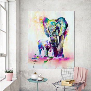 Hdartisan Hayvan Boyama Tuval Sanat Dışavurumculuk Renkli Fil Duvar