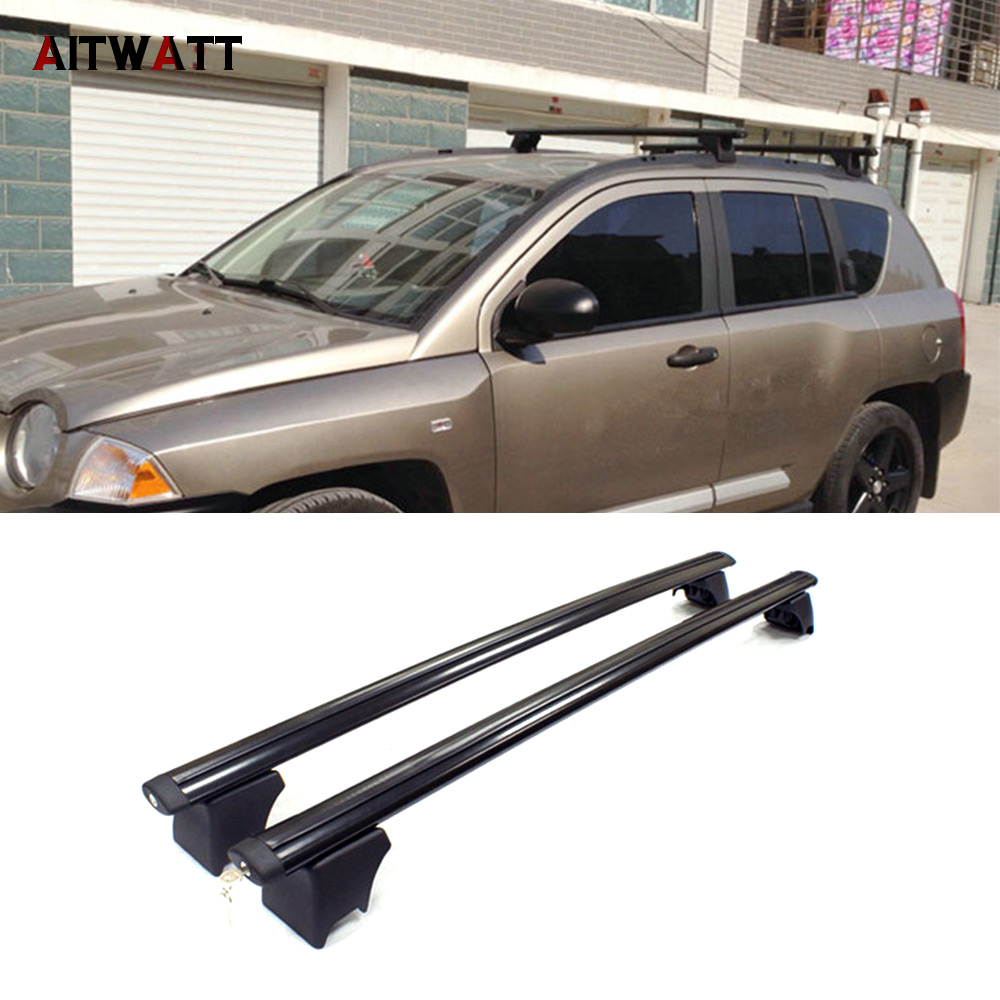 For Jeep Compass 2007 2008 2009 2010 Roof Rack Aluminium Alloy Side Rails Cross Bars Luggage Carrier Black 2Pcs Car Styling