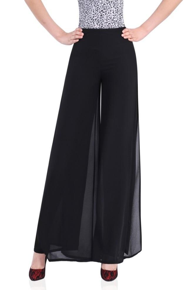2015 Summer Women Wide Leg Chiffon Trousers Loose Black