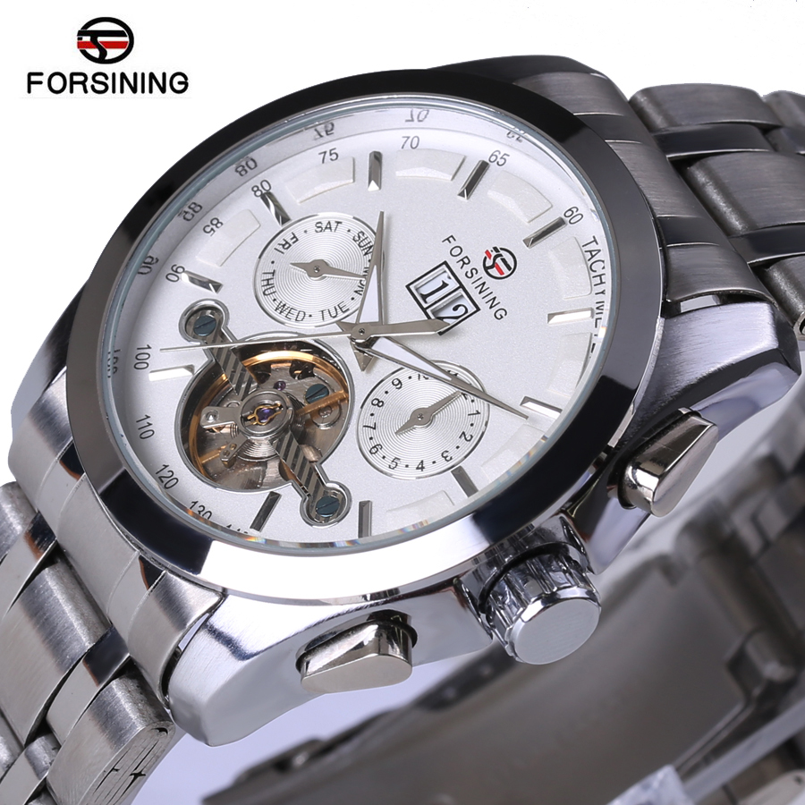ФОТО Fosining Mens Watches Top Brand Luxury Designers Automatic Mechanical Watches Full Steel Army Clock Men's Tourbillon Watch