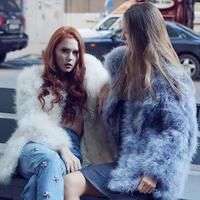 Blue Grey XLlong Women 2018 Real Fur Coat 100% Hand Made Fluffy Feather Genuine Ostrich Feather Fur Winter Jacket For Weddings