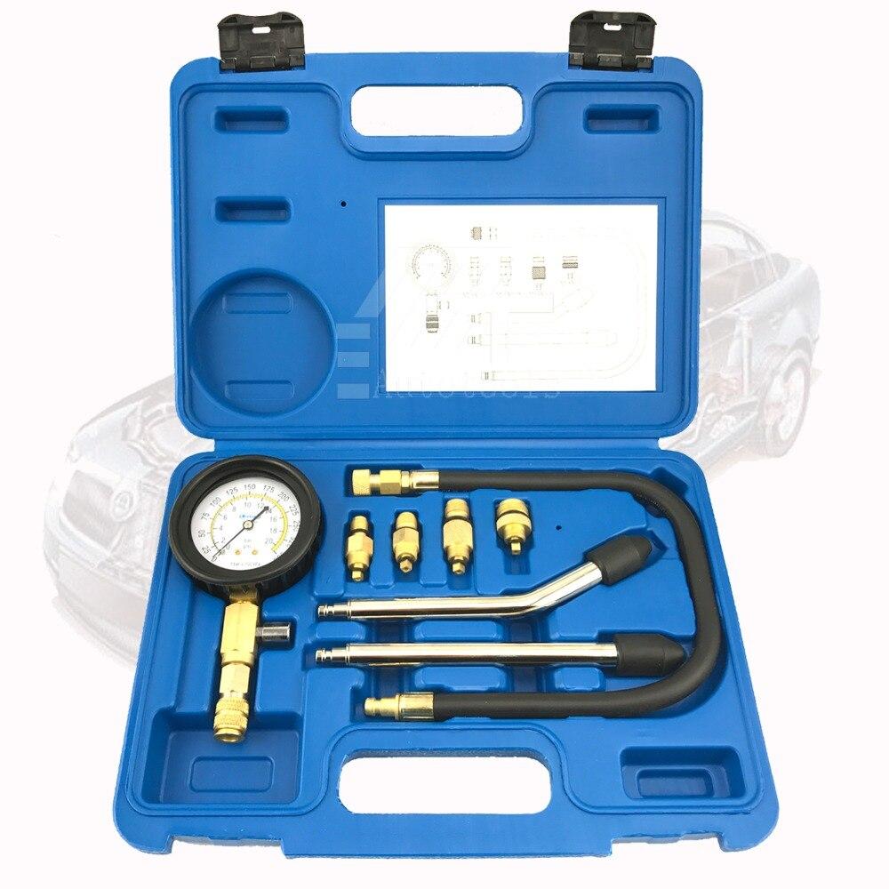 8 PCS Petrol Gas Engine Cylinder Compressor Gauge Meter Test Pressure Compression Tester Leakage Diagnostic Post Free