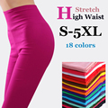 {Guoran} women high stretch cotton leggings 18 candy color ladies high waist plus size pencil pants S-5XL female skinny leggings